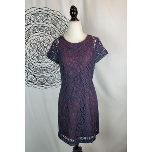 CLUB MONACO Witherbee Lace Leather Trim Dress Navy